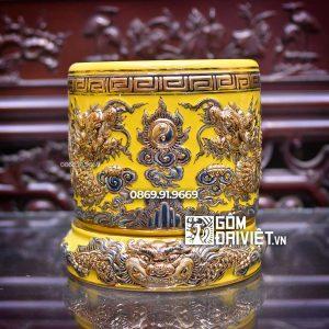 Bát hương đắp nổi màu vàng vẽ vàng Mệnh Thổ