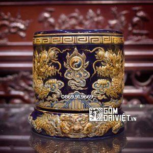 Bát hương đắp nổi Màu Xanh Đen Mệnh Thủy Vẽ Vàng