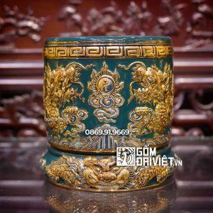 Bát hương đắp nổi Màu Xanh Lục Mệnh Thổ vẽ vàng 24K