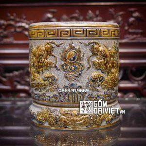 Bát hương đắp nổi men rạn vẽ vàng 24K Mệnh Kim