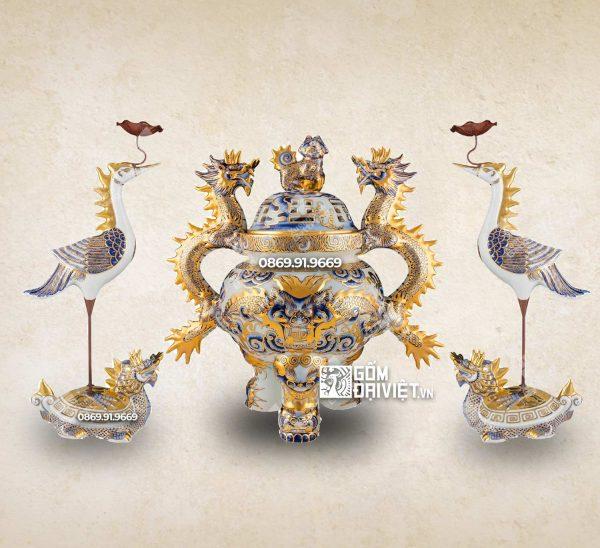 Bộ đỉnh hạc tam sự gốm sứ vẽ vàng