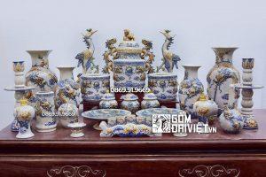 Bộ đồ thờ gốm sứ đầy đủ Bát Tràng Men rạn