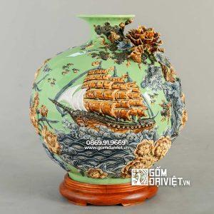 Bình gốm hút tài lộc Thuận buồm xuôi gió xanh cốm 35cm