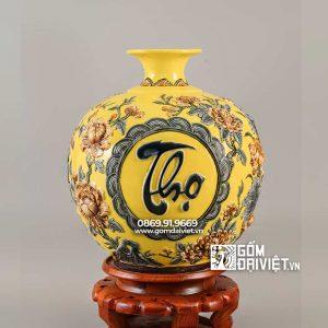 Bình hút lộc mệnh thổ Phúc Lộc Thọ màu vàng 35cm