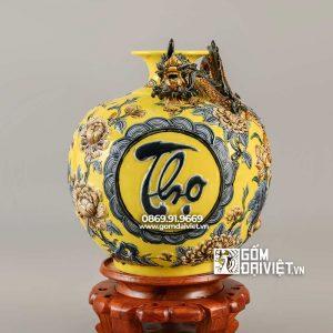 Quà biếu sếp bình hút lộc Phúc Lộc Thọ màu vàng 40cm
