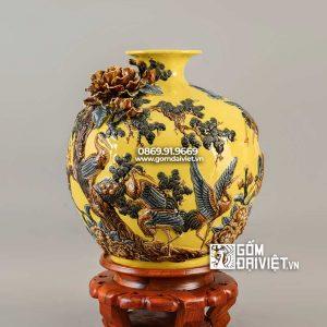 Quà biếu sếp bình hút lộc tùng hạc màu vàng 35cm