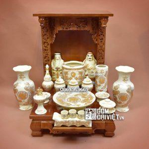 Bộ đồ thờ ông địa đầy đủ vàng kim Bát Tràng