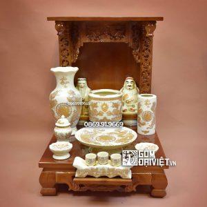 Bộ đồ thờ thần tài giá rẻ men vàng ánh kim