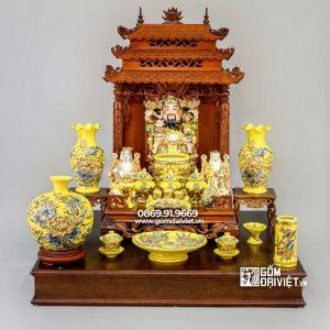 Bộ đồ thờ thần tài Mệnh Thổ Men Vàng Vẽ Vàng