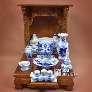 Bộ đồ thờ thần tài thổ địa men trắng vẽ xanh 48cm
