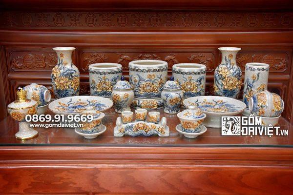 Bộ đồ thờ cúng hoa sen Bát Tràng men rạn đầy đủ P3