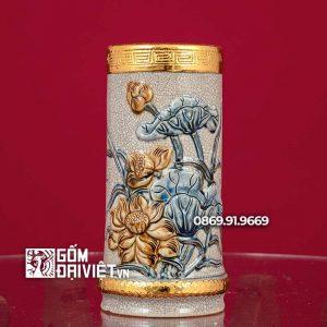 Ống Hương Đắp Hoa Sen Bọc Đồng 23cm