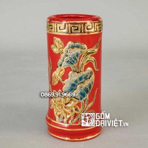 Ống Hương Đắp Hoa Sen Màu Đỏ Vẽ Vàng 24K