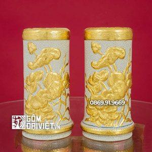 Ống hương Đắp Sen Dát Vàng 24K 23cm