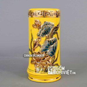 Ống Hương Màu Vàng Đắp Sen Vẽ Vàng 24K