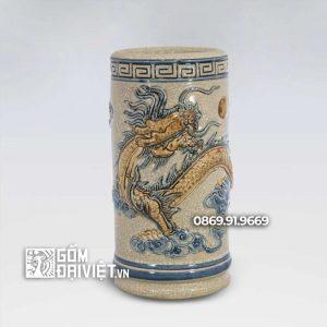 Ống Hương Men Rạn Cổ Rồng Cuộn 17cm