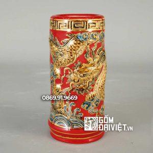 Ống Hương Vẽ Vàng 24K Đắp Rồng Màu Đỏ
