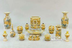 Bộ Đồ Thờ Cúng Thổ Công Men Rạn Đắp Tay Vẽ Vàng S3