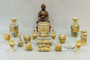Bộ Đồ Thờ Phật Đắp Hoa Sen Men Rạn Vẽ Vàng