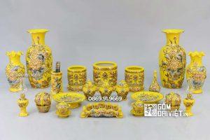 Bộ Đồ Thờ Phúc Lộc Thọ Vẽ Vàng Cao Cấp Màu Vàng