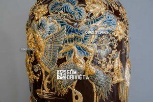 Lọ Lộc Bình Màu Nâu Vẽ Vàng 24K Đắp Phúc Lộc Thọ 1m6