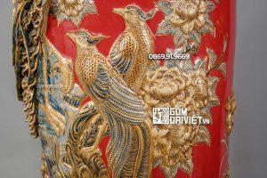 Lọ Lộc Bình Phú Quý Trường Xuân Màu Đỏ Vẽ Vàng 24K 1m4