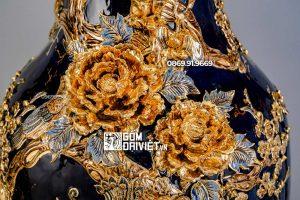 Lọ Lục Bình Mệnh Thủy Chim Công Vẽ Vàng 24K 3D Nổi 1m4