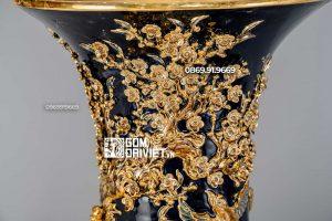 Lộc Bình Công Danh Phú Quý Xanh Đen Vẽ Vàng 24K 1m6
