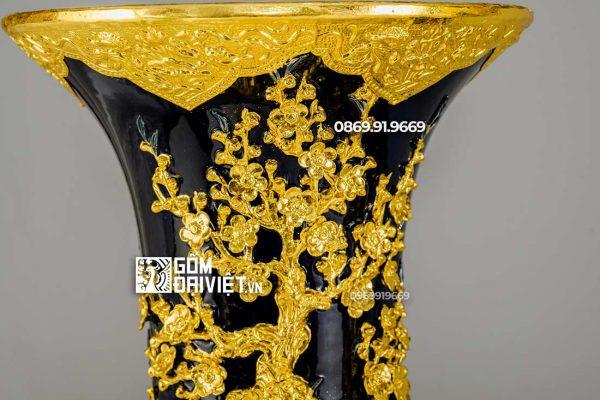 Lộc Bình Công Đào Phú Quý Dát Vàng Men Xanh 1m4