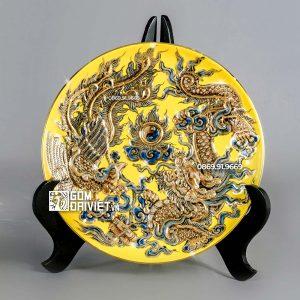 Mâm bồng Rồng Nổi màu vàng vẽ vàng P27