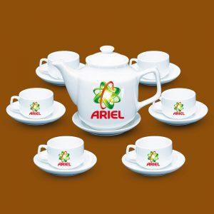 Bộ ấm trà quà tặng in logo Ariel