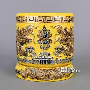 Bát hương rồng màu vàng vẽ vàng 24k p20