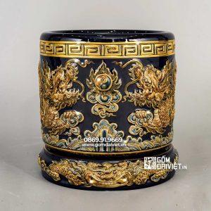 Bát hương vẽ vàng 24k màu nâu đắp rồng p20