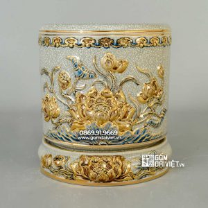 Bát hương sen men rạn vẽ vàng 24k p20