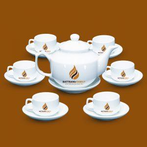 Bộ ấm chén Bát Tràng in logo 2