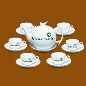 Bộ ấm trà quà tặng hình in logo Vietcombank