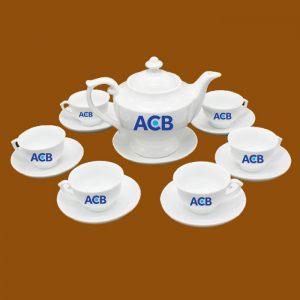 Bộ ấm trà quà tặng in logo ACB