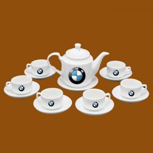 Bộ ấm trà quà tặng in logo BMW
