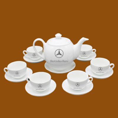 Bộ ấm trà quà tặng in logo Mercedes-Benz