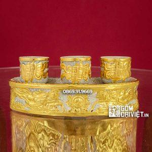 Kỷ 3 Chén Thờ Dát Vàng Men Rạn Rồng
