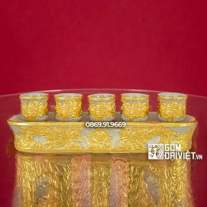 Kỷ Chén Thờ Dát Vàng 5 chén Men Rạn Rồng