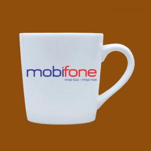 Ly sứ quà tặng Bát Tràng in logo Mobifone
