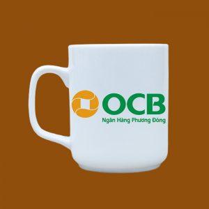 Ly sứ quà tặng Bát Tràng in logo OCB