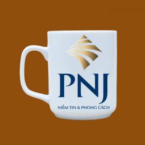 Ly sứ quà tặng Bát Tràng in logo PNJ