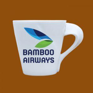 Ly Sứ quà tặng Bát Tràng trắng in hình logo Bamboo Airways