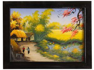 Tranh sứ Bát Tràng vẽ cảnh đồng quê 5 25x30cm