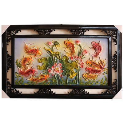 Tranh sứ Bát Tràng vẽ cửu ngư đồ cá chép hoa sen 95x55cm