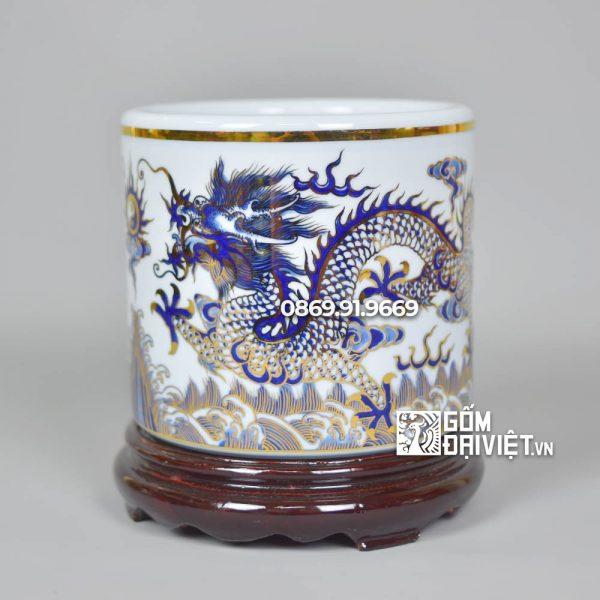 Bát hương Men Lam Vuốt Tay Vẽ Rồng Vẽ vàng 24K p20