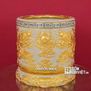 Bát hương Men Rạn Đắp Rồng 3D Dát Vàng 18K p40 cm