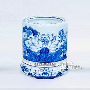 Bát hương Men rong xanh vẽ hoa sen Bát Tràng p20